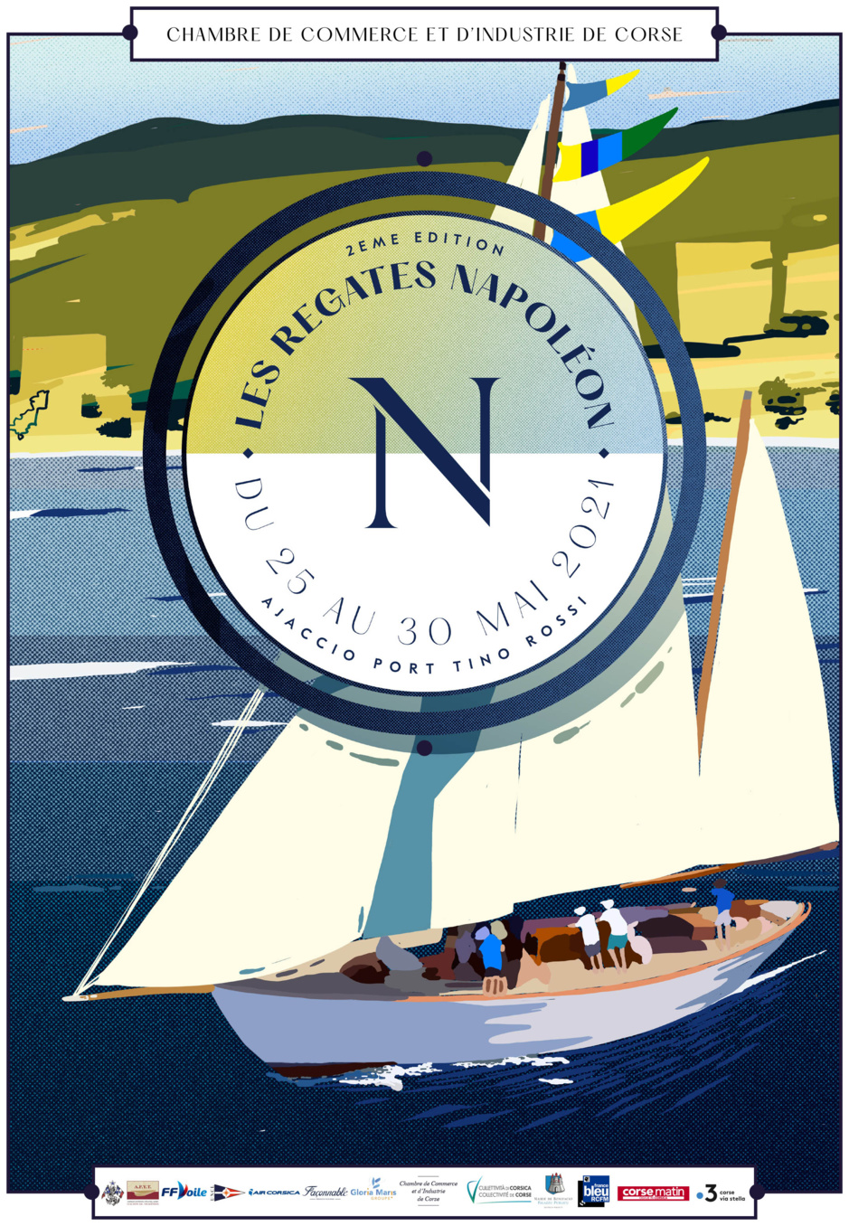 Affiche Régates Napoléon 25 au 30 mai Ajaccio SY Hygie design Seb Lyky photo JP Pyrée DR