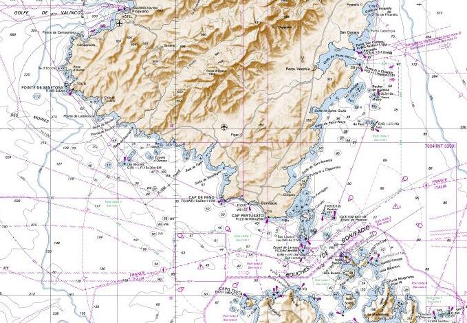 Carte marine sud Corse (source SHOM)