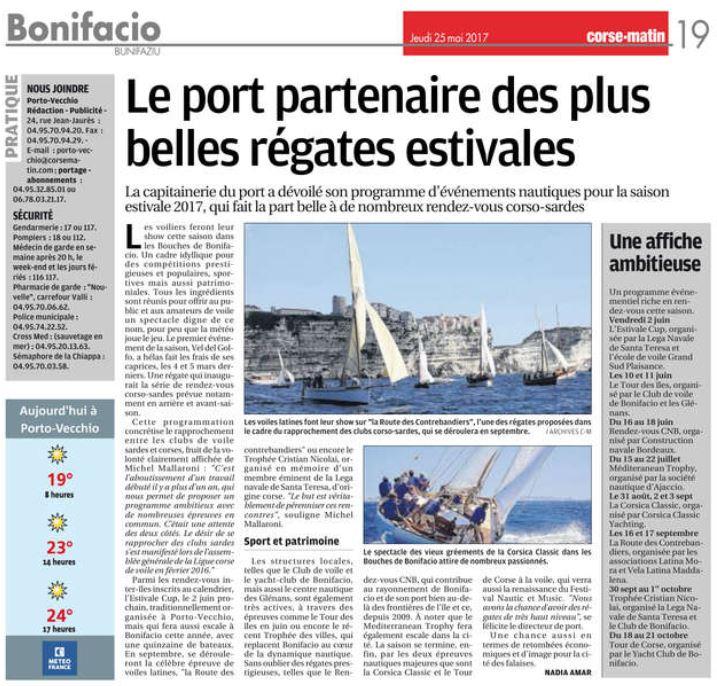 Corse Matin 25 mai 2017 page Bonifacio