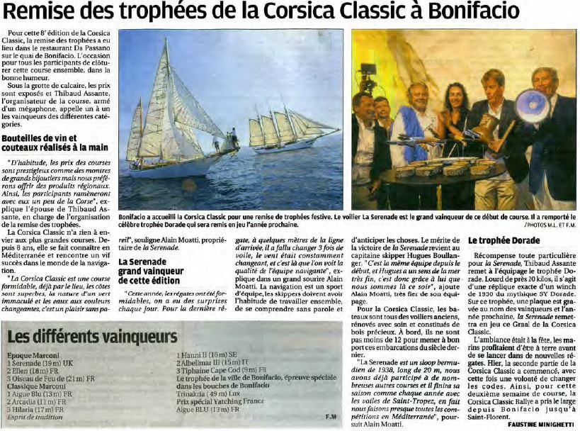 Corse Matin 5 septembre 2017 page Bonifacio
