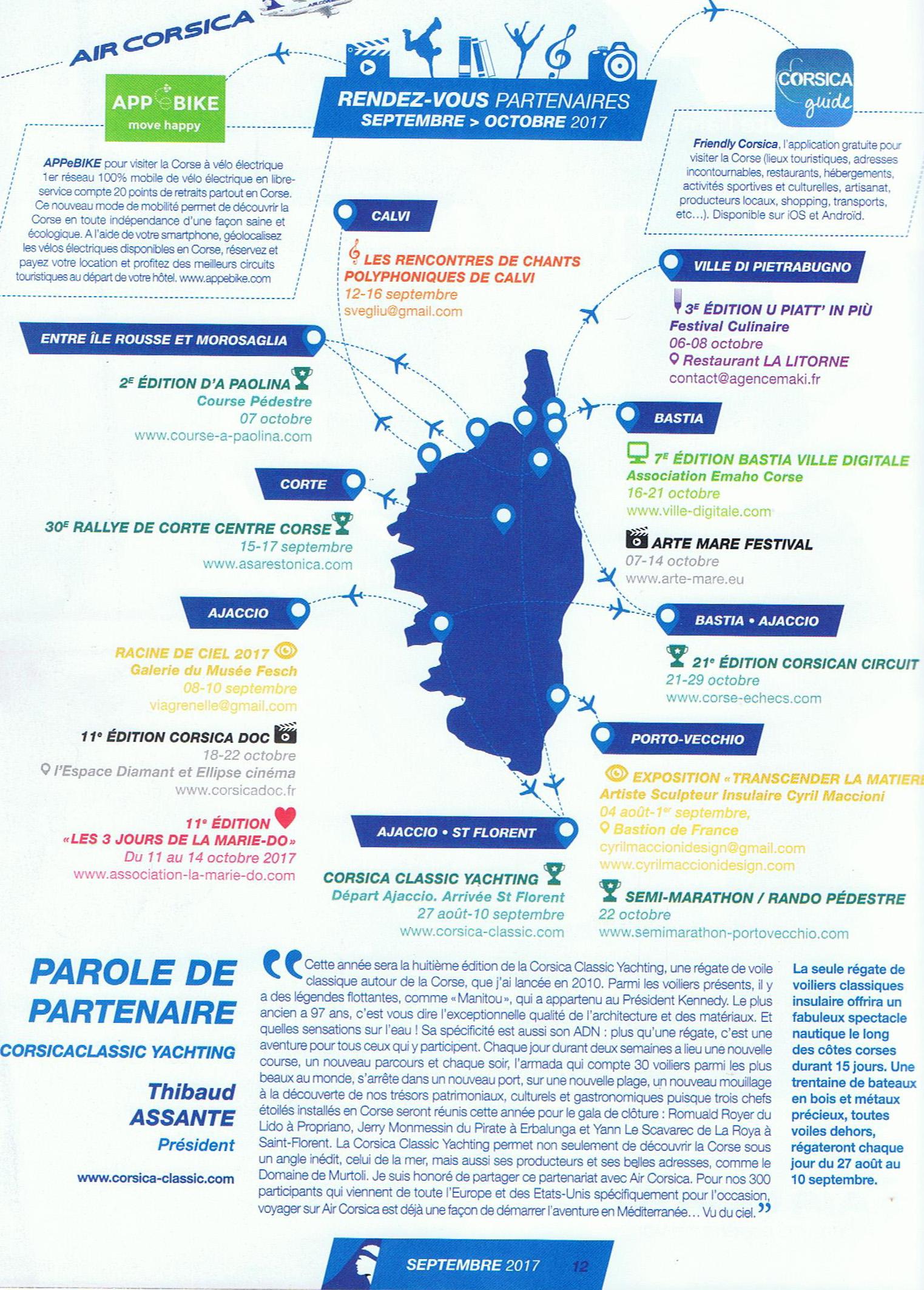 Aria Magazine, magazine in-flight Air Corsica, distribué dans les avions & aéroports, numéro de septembre