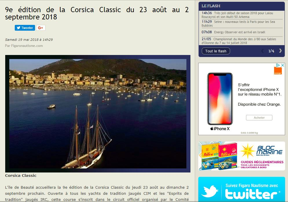 LA REVUE DE PRESSE NATIONALE CORSICA CLASSIC 2018 / FRENCH MEDIA COVERAGE 2018