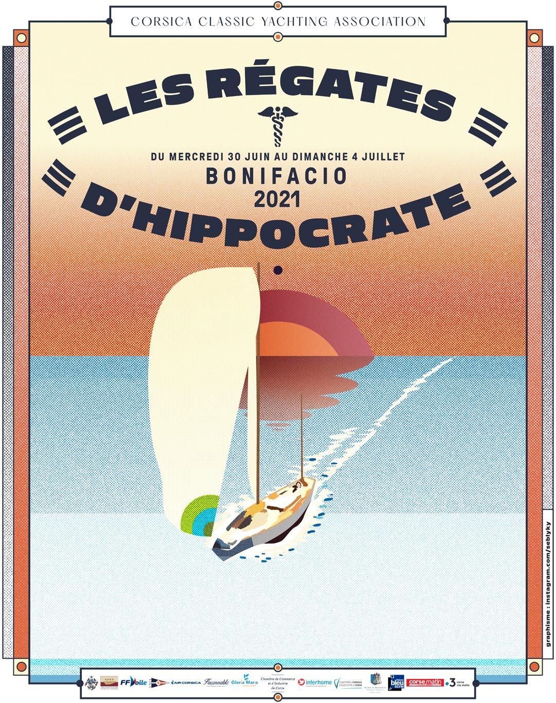 Affiche Régates d'Hippocrate design Seb Kyky photo JP Pyrée DR