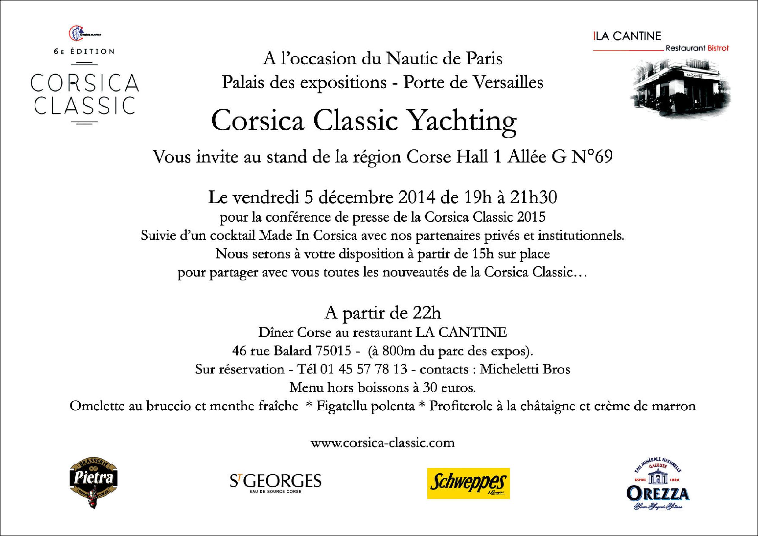 Nautic Paris Invitation Corsica Classic vendredi 5 décembre 2014